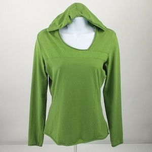 Lolë Green Long Sleeve Hooded Pull Over Top Medium